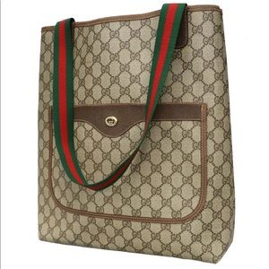 Authentic Gucci brown coated canvas tote
